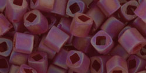 Toho Seed Beads Cubes 4mm Transparent-Rainbow-Frosted Ruby