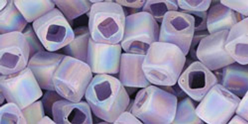 Toho Beads Cubes 4mm Transparent-Rainbow-Frosted Light Tanzanite