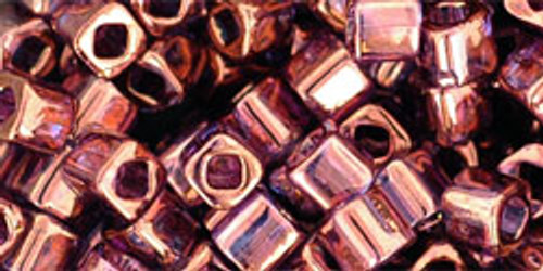 Toho Seed Beads Cubes 4mm Gold-Lustered Amethyst