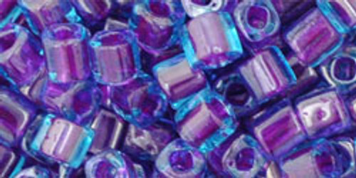 Toho Seed Beads Cubes 4mm Inside-Color Aqua/Purple Lined