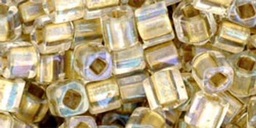 Toho Seed Beads Cubes 4mm Inside-Color Crystal/Gold Lined
