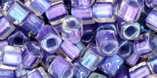 Toho Seed Beads Cubes 4mm In- Rainbow Crystal/Metallic Purple