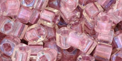 Toho Seed Beads Cubes 4mm Inside- Rainbow Crystal/Rose Lined