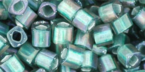 Toho Seed Beads Cubes 4 mm Inside-Color Frosted Crystal Prairie Green Lined 8 gram