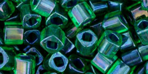 Toho Seed Beads Cubes 4mm Inside- Rainbow Peridot/Opaque Green