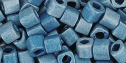 Toho Seed Beads Cubes 4mm Metallic-Frosted* Mediterranean Blue