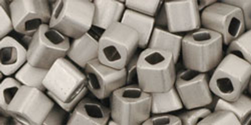 Toho Seed Beads Cubes 4mm Metallic-Silver-Frosted Antique Silver