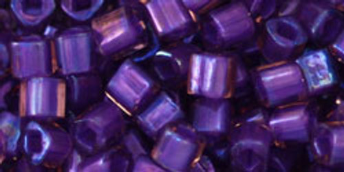 Toho Seed Beads Cubes 4mm Inside- Rainbow Rosaline/Opaque Purple