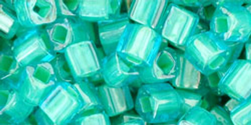 Toho Seed Beads Cubes 4mm In-Color Aqua/Light Jonquil Lined