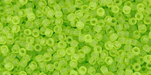 Toho Seed Beads 15/0 Rounds Transparent-Frosted Lime Green 8 gram TR-15-4F
