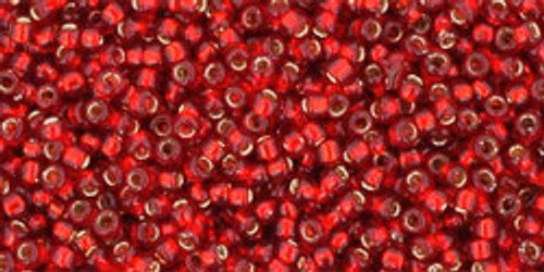 Toho Seed Beads 15/0 Rounds Silver-Lined Ruby