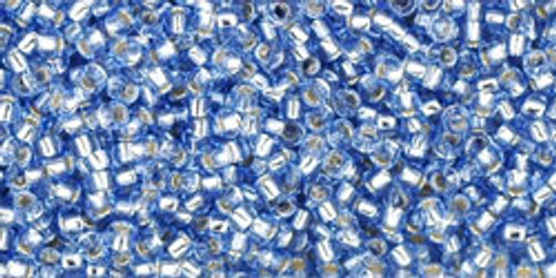 Toho Seed Beads 15/0 Rounds Silver-Lined Light Sapphire