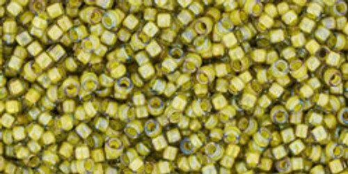 Toho Seed Bead 15/0 Round In-Luster Black Diamond/Yellow Lined
