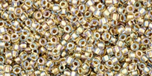 Toho Seed Beads 15/0 Rounds Inside-Color Crystal/Gold Lined