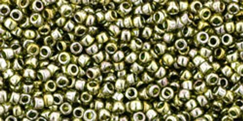 Toho Seed Beads 15/0 Rounds Gold-Lustered Green Tea