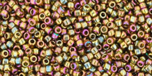 Toho Seed Beads 15/0 Rounds Gold-Lustered Dark Topaz