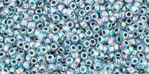 Toho Seed Bead 15/0 Round  In-Rainbow Crystal/Montana Blue Lined