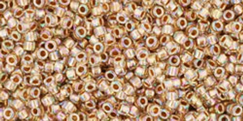 Toho Seed Beads 15/0 Rounds Gold-Lined Rainbow Crystal