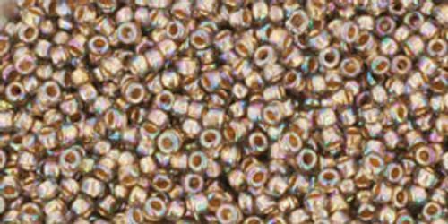 Toho Seed Beads 15/0 Rounds Gold-Lined Rainbow Black Diamond