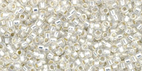 Toho Seed Beads 15/0 Rounds Silver-Lined Milky White