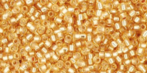 Toho Seed Beads 15/0 Rounds Silver-Lined Milky Light Topaz