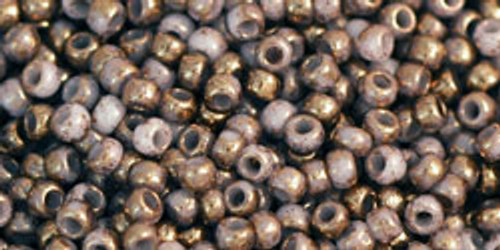 Toho Seed Beads 11/0 Rounds Gilded Marble White