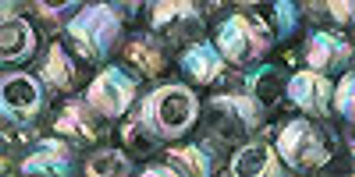 Toho Seed Beads 3/0 Rounds Transparent Rainbow Gray 8 gram tube