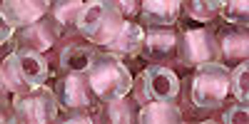 Toho Seed Beads 3/0 Rounds In-Crystal/Rose Gold Lined 8 Gram Tube