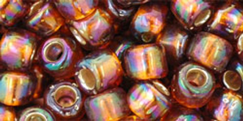 Toho Seed Beads 3/0 Rounds Silver Lined Rainbow Topaz 20 grams