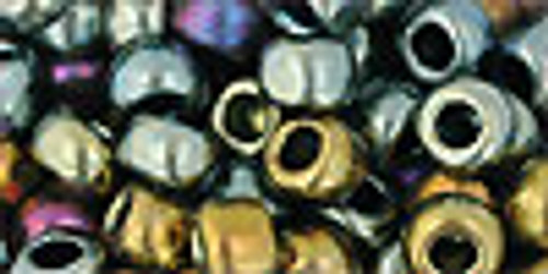 Toho Seed Beads 3/0 Rounds #721 Galvanized Blue Gold 8 Gram Tube