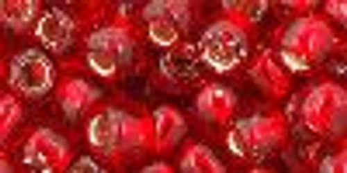 Toho Seed Beads 3/0 Rounds #27 Silver Lined Siam Ruby 50 Grams