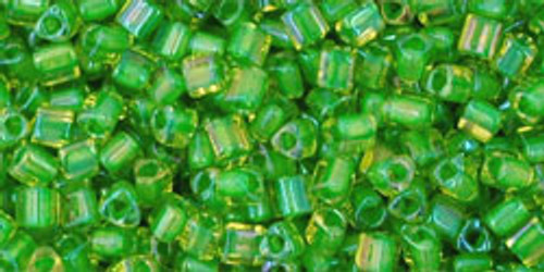 TOHO Seed Beads Triangles 11/0 Inside Jonquil/Shamrock Lined