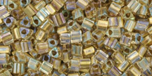 TOHO Seed Beads Triangles 11/0 Inside-Crystal/Gold Lined