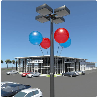 4-Pack DuraBalloon Light Pole Kit with 4 duraballoon balloon bobber boppers included with each kit