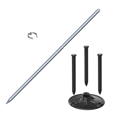 """The DuraBalloon® MEGAPLATE KIT with 33"""" SPIKE [Silver] is easy to install and will keep your Pole Kits standing upright for years to come! Anodized metal Ground Spike is included in this kit. Color: Black MegaPlate components & silver center Spike with C-Clip."""
