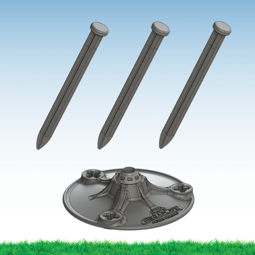 "The Stake Mate MegaPlate was designed specifically for heavy clusters of ground-mounted balloons that require enhanced stabilization in a variety of different landscaping conditions. The 6"" diameter plate ensures your pole doesn't dig itself into the ground and three surrounding 8"" X-Stakes limit any side to side movement of the kit. A center ball in the middle of the MegaPlate allows you to mount your aluminum spike vertical on sloped grades."
