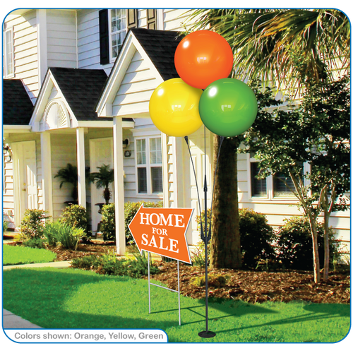 """With your choice of three eye-catching reusable balloons, this kit is sure to draw attention to your apartment community, dealership or business from the sidewalk and the streets! The 3-Balloon Cluster Pole Kit is a lightweight and economical alternative to our top selling 5-Balloon Cluster. It stands at the same height of 7'7"""" and is made of the same weather-resistant plastic!"""