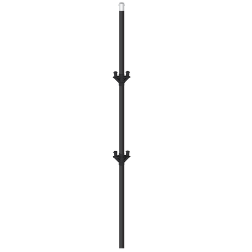 "This reinforced 48"" replacement cluster pole is thicker than a regular pole to support 5 Balloons. The pole itself is anodized black and has two snap-buttons to attach a bracket mount supporting the five fiberglass stems. Recommended for use with the Metal Ground Kit if mounting in landscaping."