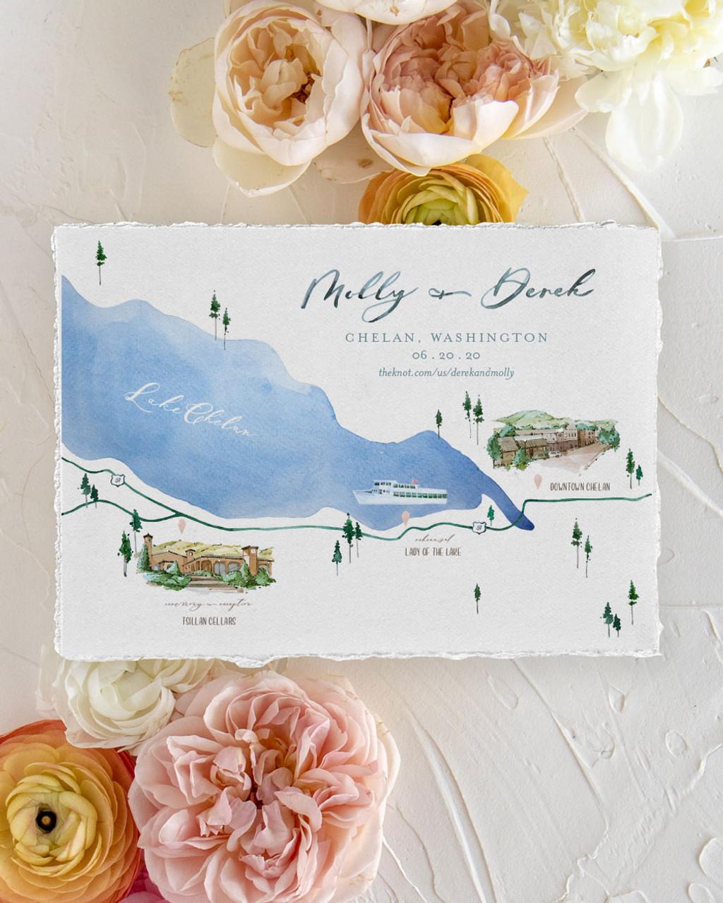 Hand painted watercolour map design with flowers 25 Nova Scotia Wedding Invitation