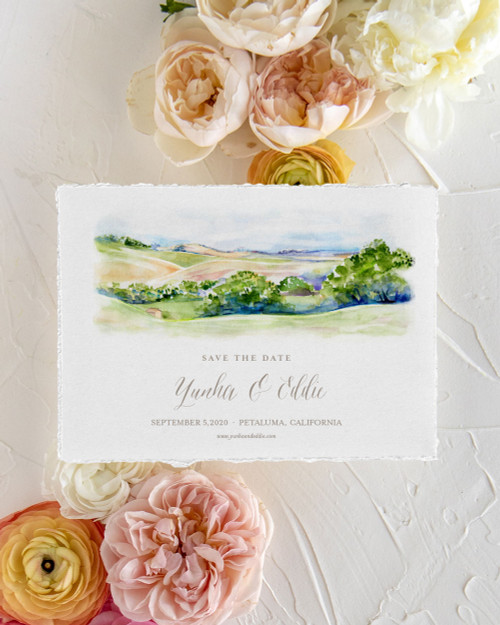 Rolling Hills Watercolor Save the Date