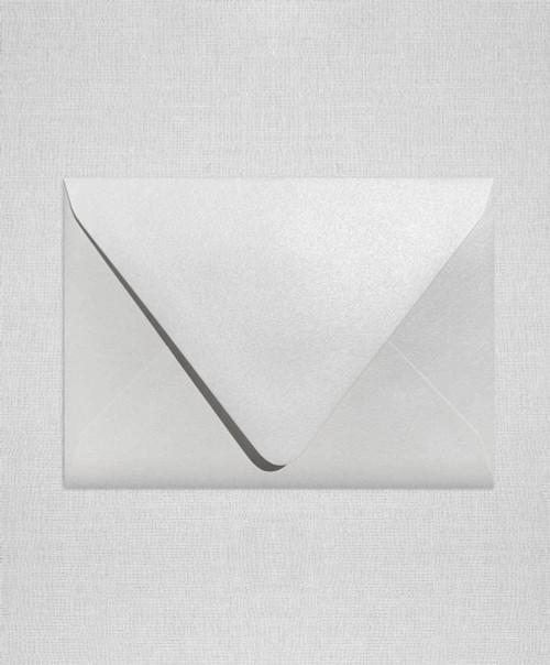 White Metallic A+ Euro Flap Envelopes measure 5.75 x 7.75 inches (146.05 x 184.15mm)