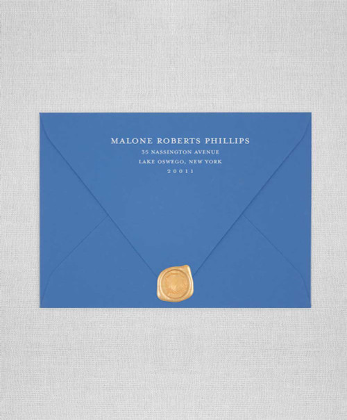 American blue envelopes colorplan paper with white ink addressing and wax seals