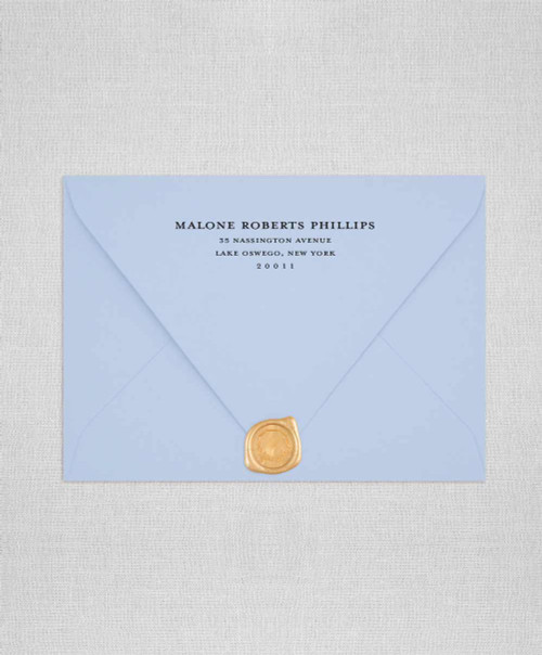Azure Blue Wedding Envelope with Reutrn Adressing size A7