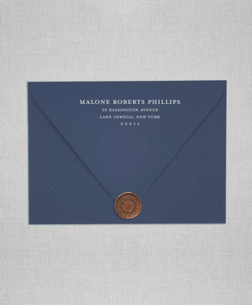 A7 Cobalt blue wedding envelopes with white ink addressing and wax seals