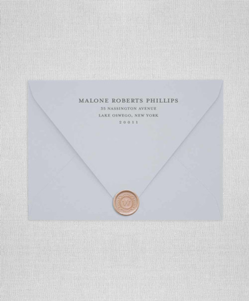 minimal wedding envelopes with addressing and wax seals