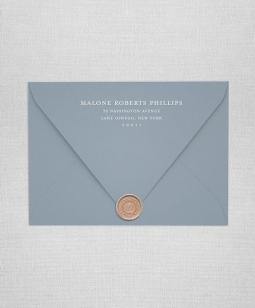 Dusty Blue wedding envelopes with white ink return addressing and rose gold wax seals