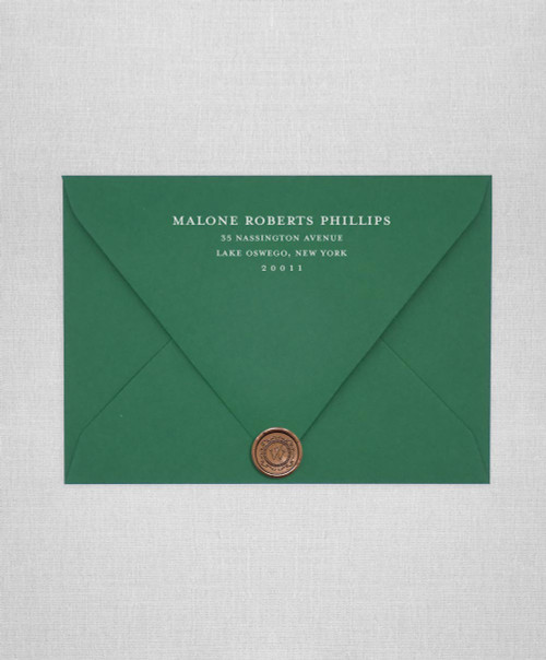 Lockwood Green wedding envelopes with white ink return addressing and gold wax seals