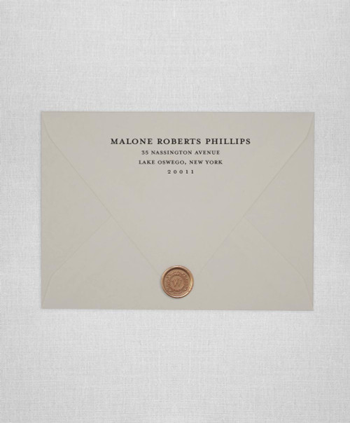 Mist wedding envelopes with white ink return addressing and gold wax seals
