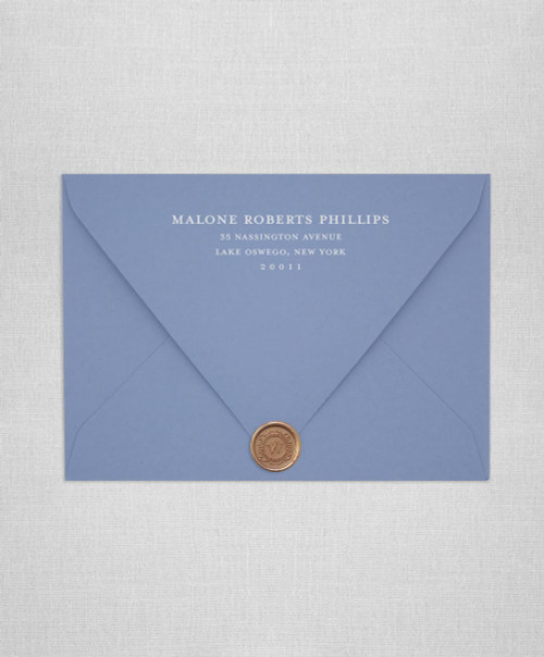 New Blue wedding envelopes with white ink return addressing and gold wax seals