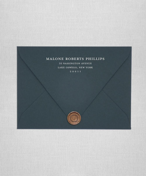 Dark Green wedding envelopes with white ink return addressing and gold wax seals